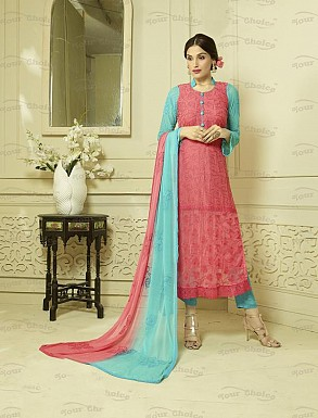 PINK AND SKY CHIFFON STRAIGHT SUIT @ Rs1606.00