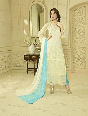 OFF WHITE AND SKY CHIFFON STRAIGHT SUIT @ Rs1606.00
