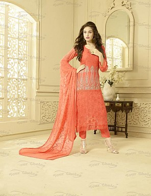 ORANGE CHIFFON STRAIGHT SUIT @ Rs1606.00