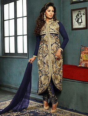 New Attractive Navy Blue Straight Suit @ Rs3027.00