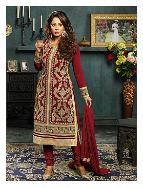 New Attractive Maroon Straight Suit @ Rs3027.00
