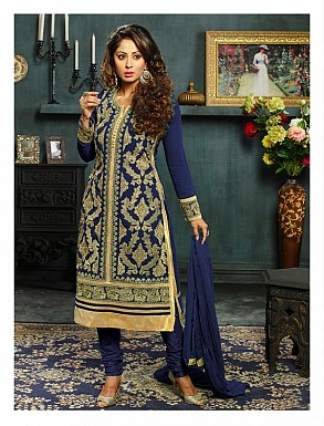 New Attractive Blue Straight Suit @ Rs3027.00