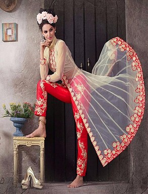 New Attractive Cream And Red Anarkali Suit @ Rs1606.00