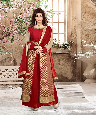 DESIGNER RED ANARKALI SUIT @ Rs2039.00