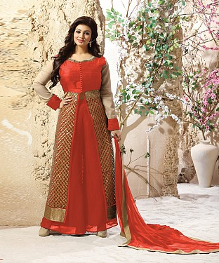 DESIGNER PEACH ANARKALI SUIT @ Rs2039.00