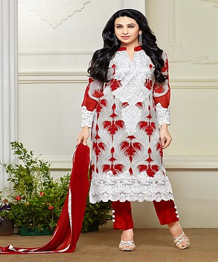 OFF WHITE AND RED STRAIGHT SUIT @ Rs1544.00