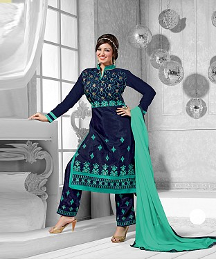 New Attractive Navy Blue Straight Suit @ Rs1173.00