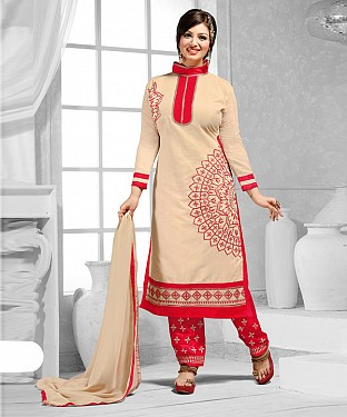 New Attractive Cream Straight Suit @ Rs1173.00