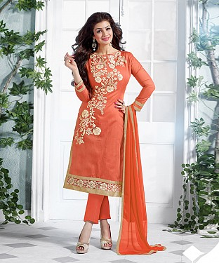New Attractive Orange Straight Suit @ Rs1173.00