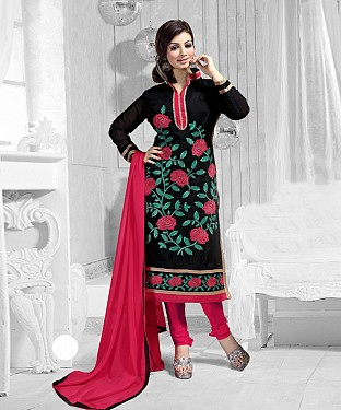 New Attractive Black Straight Suit @ Rs1173.00
