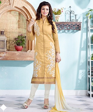 New Attractive Beige Straight Suit @ Rs1173.00