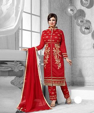 New Attractive Red Straight Suit @ Rs1173.00