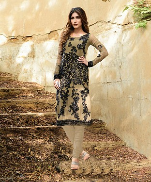 New Attractive Cream Straight Suit @ Rs2039.00