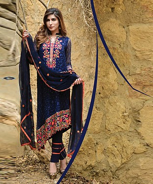 New Attractive Navy Blue Straight Suit @ Rs2039.00