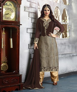 New Attractive Brown Straight Suit @ Rs2039.00