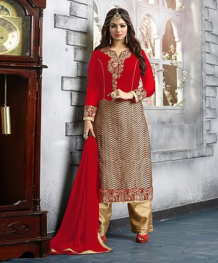 New Attractive Red Straight Suit @ Rs2039.00