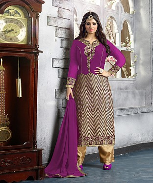 New Attractive Purple Straight Suit @ Rs2039.00