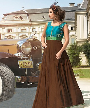 New Attractive Brown Anarkali Suit @ Rs3954.00