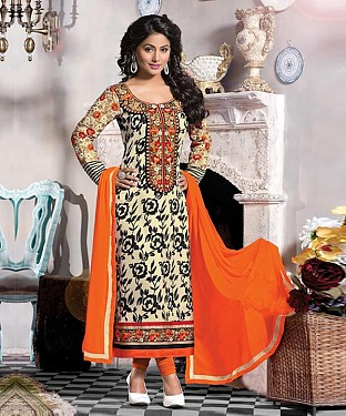 New Attractive Black & Cream Straight Suit @ Rs1791.00