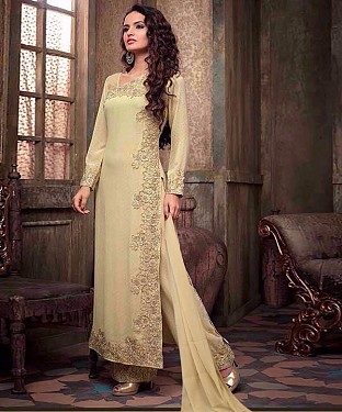 New Attractive Beige Straight Suit @ Rs1297.00