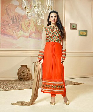 New Attractive Orange Straight Suit @ Rs1421.00
