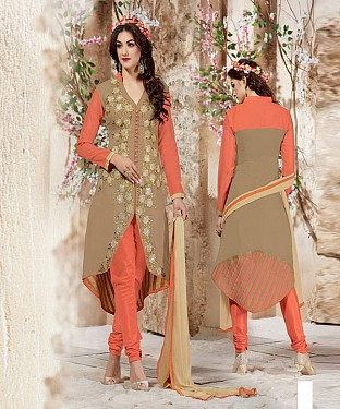 Designer Peach And Beige Straight Suit @ Rs1112.00
