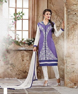 Designer Blue And White Straight Suit @ Rs1112.00