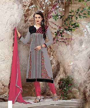 Designer Grey And Pink Straight Suit @ Rs1112.00