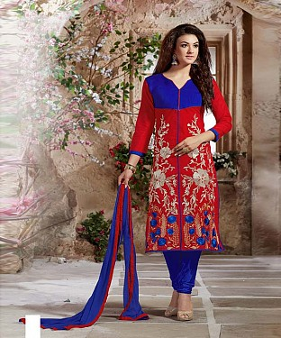 Designer Red And Blue Straight Suit @ Rs1112.00