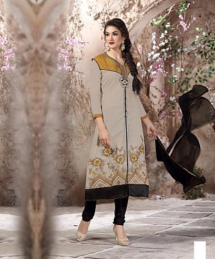 Designer Grey And Black Straight Suit @ Rs1112.00