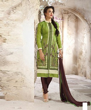 Designer Green And Brown Straight Suit @ Rs1112.00