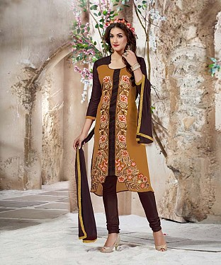 Designer Cream And Brown Straight Suit @ Rs1112.00