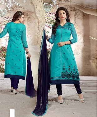 Designer Aqua And Navy Blue Straight Suit @ Rs1112.00