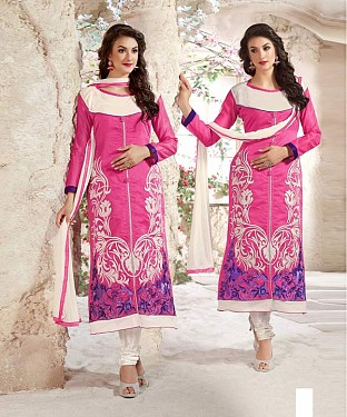 Designer Pink And White Straight Suit @ Rs1112.00