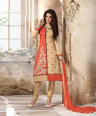 Designer Orange And Beige Straight Suit @ Rs1112.00