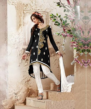 Designer Black And White Straight Suit @ Rs1112.00