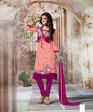 Designer Peach And Pink Straight Suit @ Rs1112.00