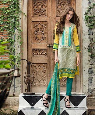 Designer Yellow And Aqua Straight Suit @ Rs1235.00