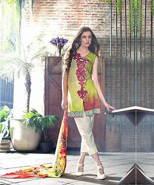 Designer Parrot And Off White Straight Suit @ Rs1235.00