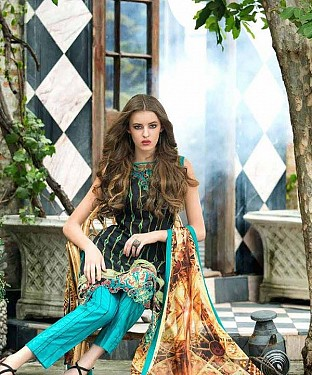 Designer Black And Aqua Straight Suit @ Rs1235.00