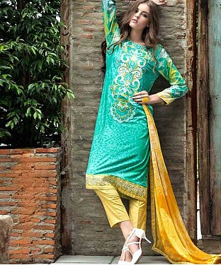 Designer Aqua And Yellow  Straight Suit @ Rs1235.00