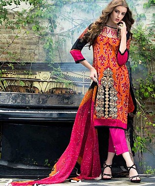 Designer Red And Pink Straight Suit @ Rs1235.00