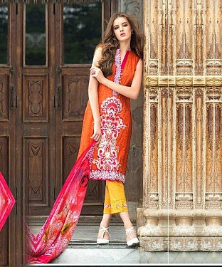 Designer Red And Yellow Straight Suit @ Rs1235.00