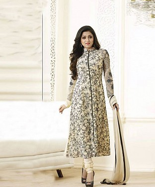 New Attractive Off White Straight Suit @ Rs1606.00