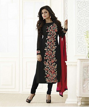 New Attractive Black Straight Suit @ Rs1606.00
