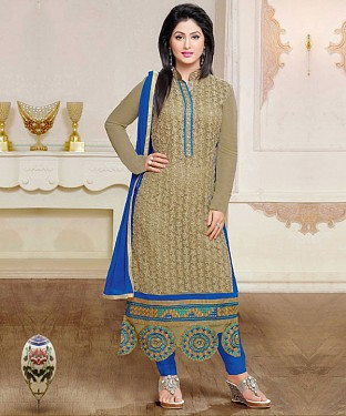 Designer Grey And Blue Straight Suit @ Rs1297.00