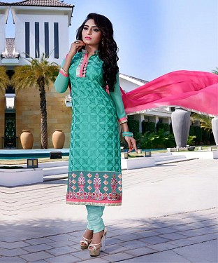 Designer Aqua Straight Suit @ Rs1606.00