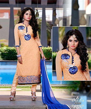 Designer Orange Straight Suit @ Rs1606.00