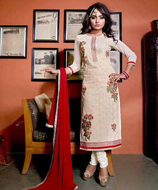 Designer Off White Straight Suit @ Rs1606.00