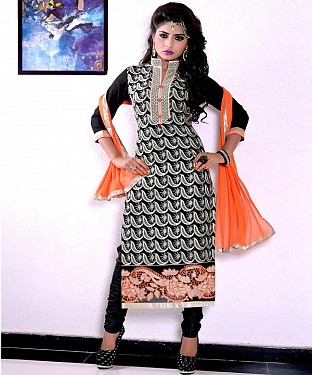 Designer Black Straight Suit @ Rs1606.00